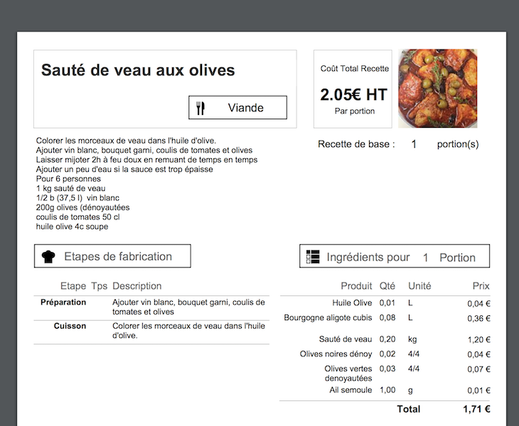 calcul du prix de revient d'une recette en cuisine - koust